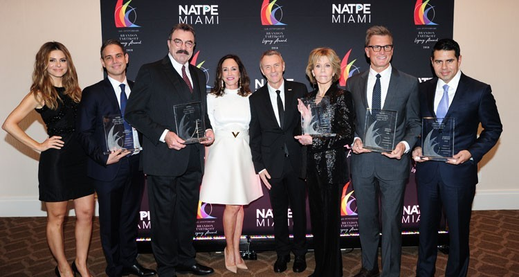 The NATPE's Brandon Tartikoff Legacy Awards: executive producer Greg Berlanti; Telemundo and NBCUniversal International chairman Cesar Conde; award-winning actress Jane Fonda; TBS and TNT president Kevin Reilly; and award-winning actor Tom Selleck