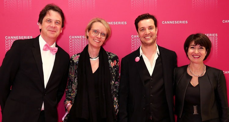 Jérôme Delhaye, director of the Entertainment Division, and Laurine Garaude, director of TV division, Reed Midem (borders) with Marie Amelie Vazzoleretto, program director, and Albin Lewi, artistic director, both from Canneseries (credit: Olivier Vigerie)