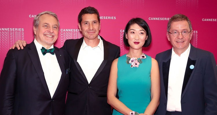CanneSeries 2018 Opening Ceremony at Debussy Theatre: Paul Zilk, CEO, Reed Midem, David Lisnard, Mayor of Cannes, Fleur Pellerin, President of CanneSeries and former minister of Culture in France, and Benoît Louvet, general director of CanneSeries (credit: Olivier Vigerie)