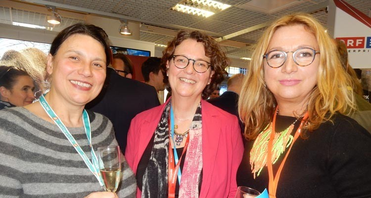 At the Austrian ORF cocktail: Hanne Kehrwald, commissioning editor, and Kate Cox, deputy head of documentaries, both from Deutsche Welle, with Margrit Staerk, director of acquisitions, ZDF Enterprises, all from Germany