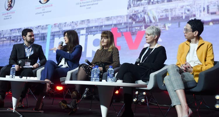 The 'Big Shift' Panel: Maria Kyriacou, president international, ITV Studios (UK), Cathy Payne, Chief Executive, Endemol Shine Group (UK), Louise Pedersen, CEO, all3media (UK) and Keren Shahar, COO and president of distribution, Keshet International (Israel)