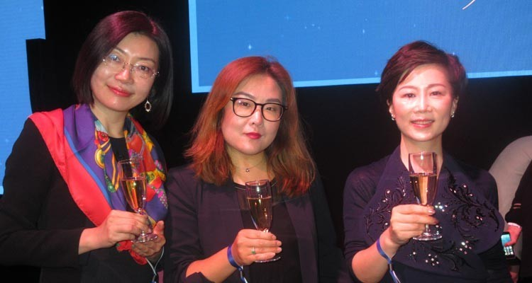 Buyers of the Chinese OTT Platform YouKu at the Médailles d'Honneur: Julia Song, head of scripted acquisitions, Coco Ma, VP of scripted, and Tracy Liu, international acquisitions manager