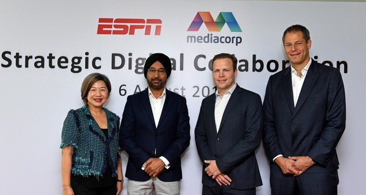 Tham Loke Kheng, Mediacorp, with Lance Peatey, and Charles Classen, ESPN EMEAnager, ESPN EMEA