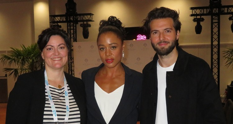 """all3media's """"The Feed"""" participated at CanneSeries with very good reception of the participants: Channing Powell, creator and producer at all3media, with talent Nina Toussaint-White and Guy Burnet"""