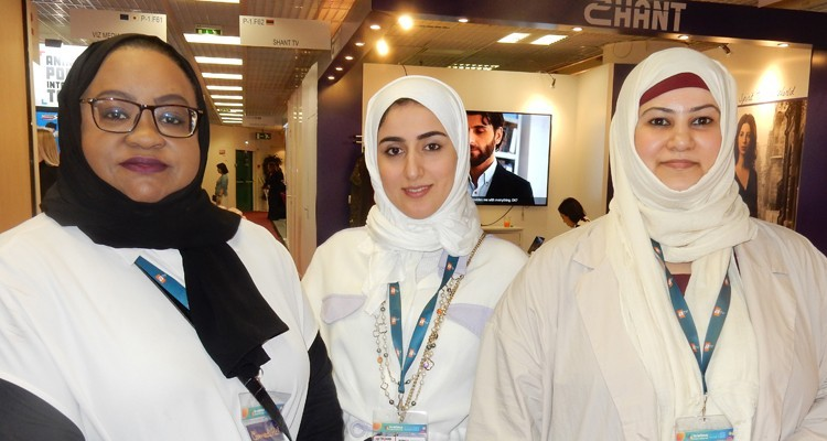 Buyers from Sharjah Broadcasting Authority, an UAE free TV broadcaster: Ayda Buti, channel programs manager, Hind Al Saeedi, senior executive, and Shurouq Alsowaidi, programs procurement director