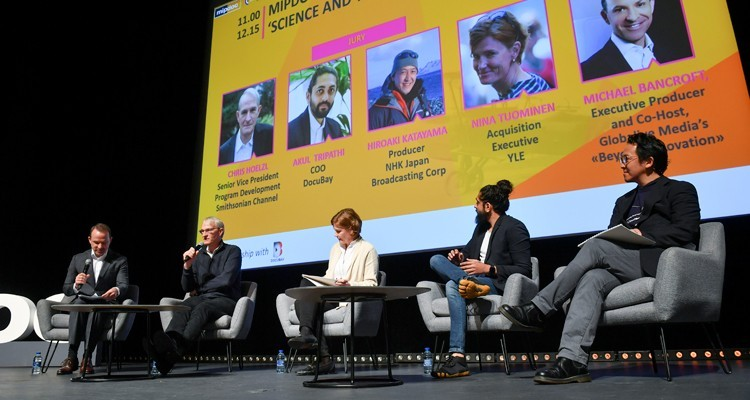 "MIPDoc Panel ""Science and Technology"": Hiroaki Katayama, Producer, NHK (Japan), Chris Hoelzl, SVP Program Development, Smithsonian Channel (USA), Michael Bancroft, executive producer and co-host, Globalive Media's ""Beyond Innovation"", and Nina Tuominen, Acquisition Executive, YLE (Finland)"