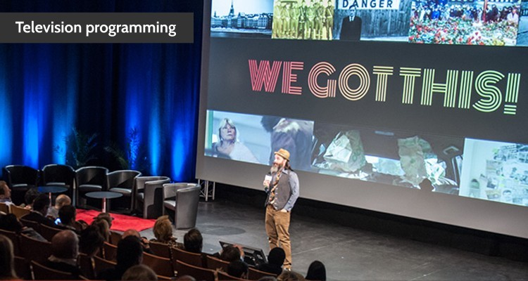 Schiaffino Musarra (writer) presenting We Got This! during the 2018 Co-Pro Pitching Sessions at Series Mania. He received the Best Project prize of 50,000€. (c) Pidz