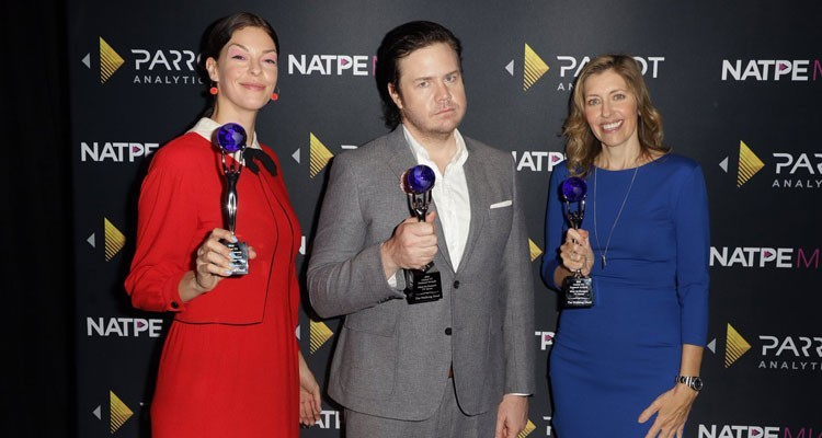Pollyanna McIntosh, Josh McDermitt and Denise Huth receive the 2018 Global TV Demand Award for the most in-demand TV series for the