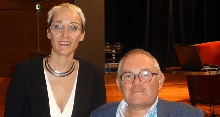 TV France International in Biarritz: Sarah Hemar, executive director at TV France International, and Benoit Danard, director of Research, Statistics and Forecast at the CNC