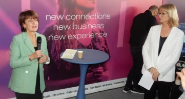 The press conference for the new MIPTV: Laurine Garaude, director of TV division, and Lucy Smith, deputy director, Reed Midem stressed that the April show will concentrate the exhibitors in three halls of The Palais, following a global design