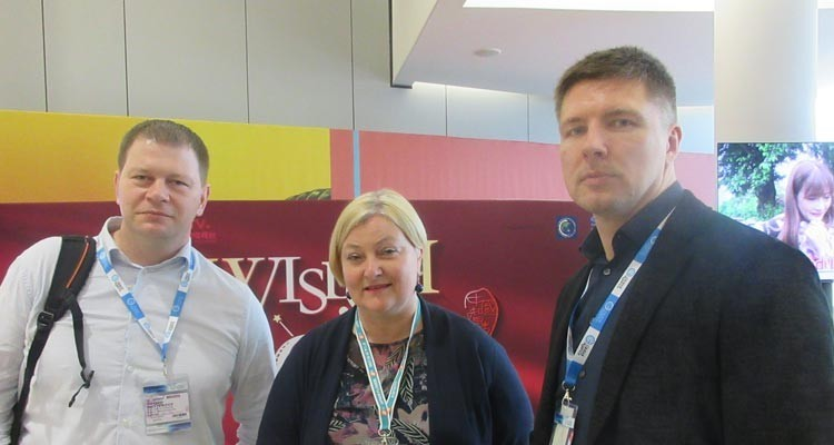 Buyers from Latvia: Sergejs Nesterovs, content strategy, and Iveta Lepeško, director of parent division, both from Latvijas Televizija (LTV), with the acquisition consultant, Girts Licis