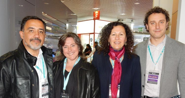 Latin American broadcasters: Patricio Hernández, executive director, Patricia Bazan, content director, and Juan Ignacio Vicente, director of content and international business, Mega Chile (borders) and Doris Vogelmann, VP programming, Vme Media (USA)
