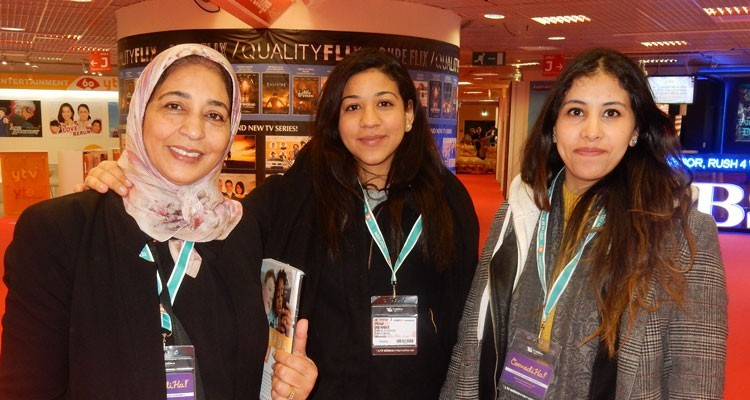 Africa: Ilham Fadlallah, assistant direction of communications, and Hind Bennis, from Maroc Export (Morocco), with Soukaina Akrate, export advisor, markets selection, Centre Marocain de Promotion des Exportations (CMPE)